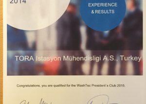 Washtec 2014 En iyi Satış Performas ödülü