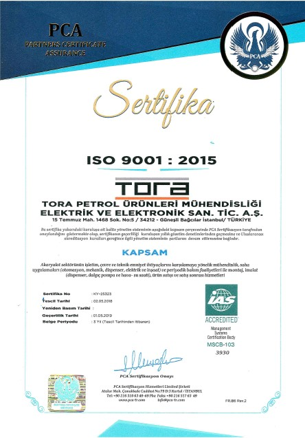 Tora Petrol ISO 9001 Sertifikası