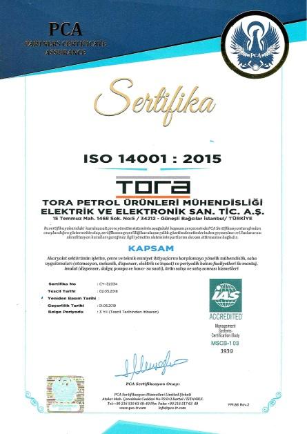 Tora Petrol OHSAS 14001 Sertifikası