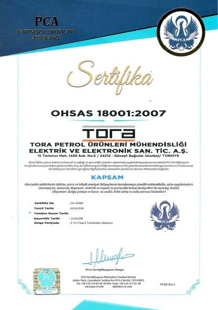 Tora Petrol OHSAS 18001 Sertifikası